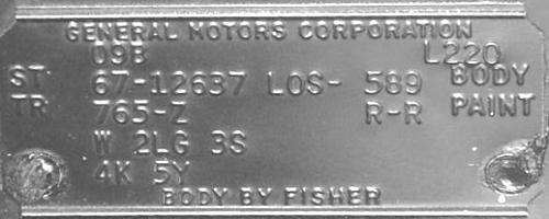 1967 Camaro Los Angeles Trim Tags