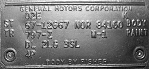 E on 1970 Camaro Z28 Trim Tag